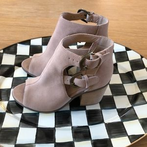 Sole Society Hyperion Open-toe Suede Bootie Size 6